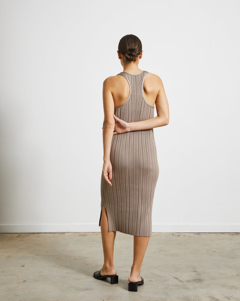 Komali Irregular Rib Dress in Taupe Beige