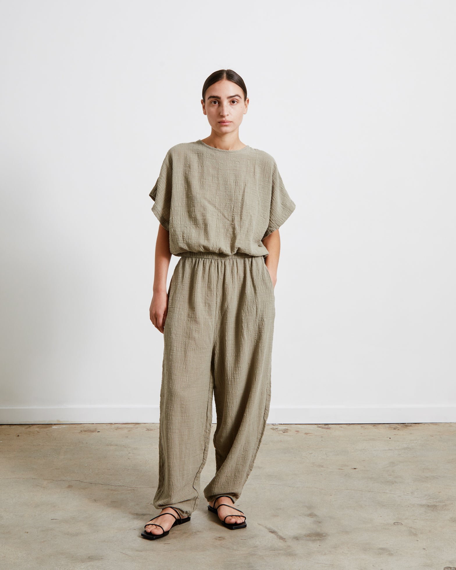 Mohawk General Store | Black Crane | Easy Jumpsuit in Stone