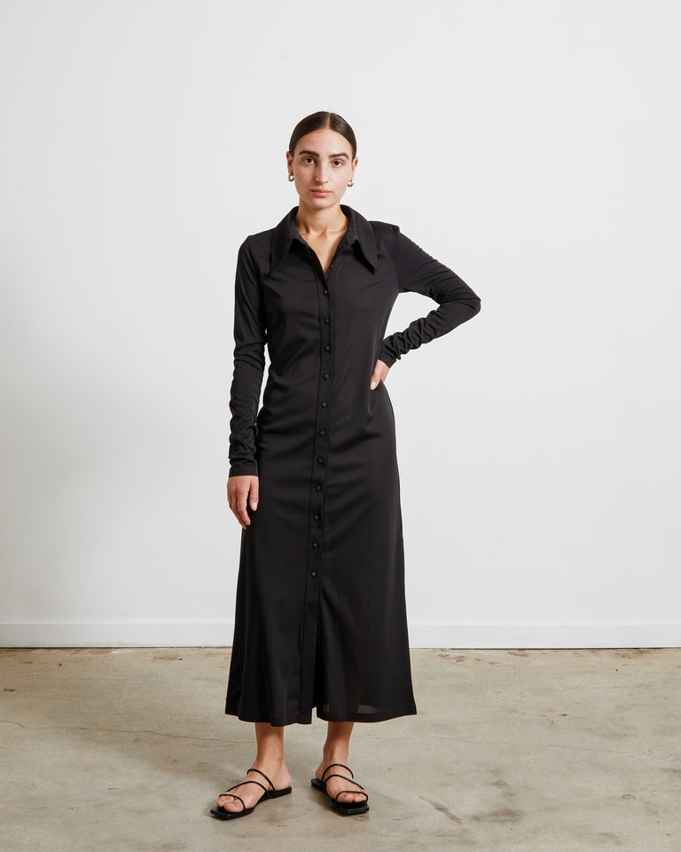 Jersey Long Shirt Dress in Black