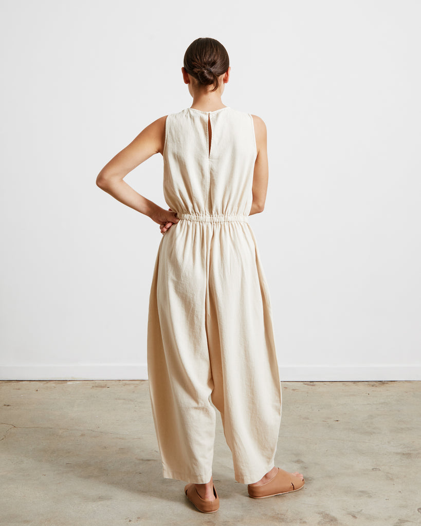 Linen Jumpsuit in Sand