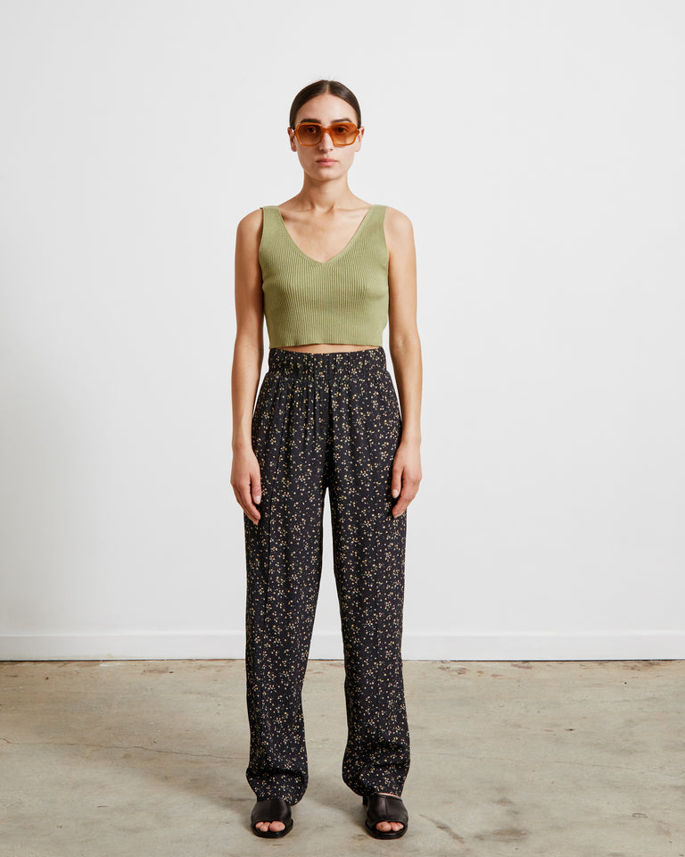 Printed Crepe Pants in Black