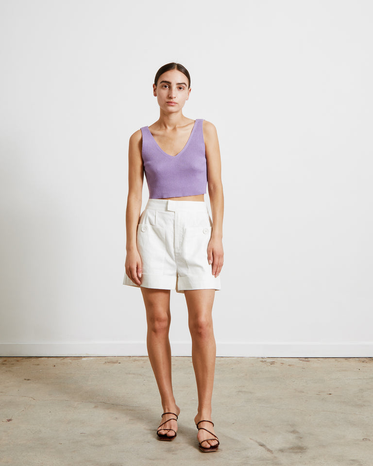 Ribbed Knit Crop Top in Lavender