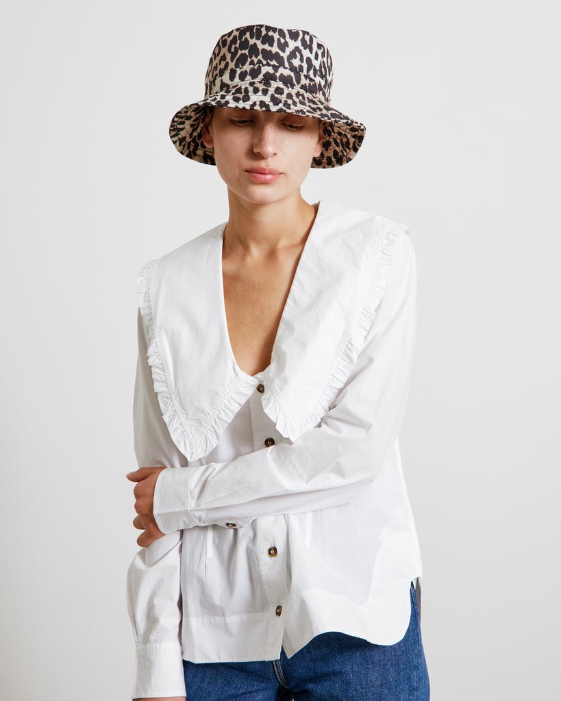 Cotton Poplin V-Neck Shirt in Bright White