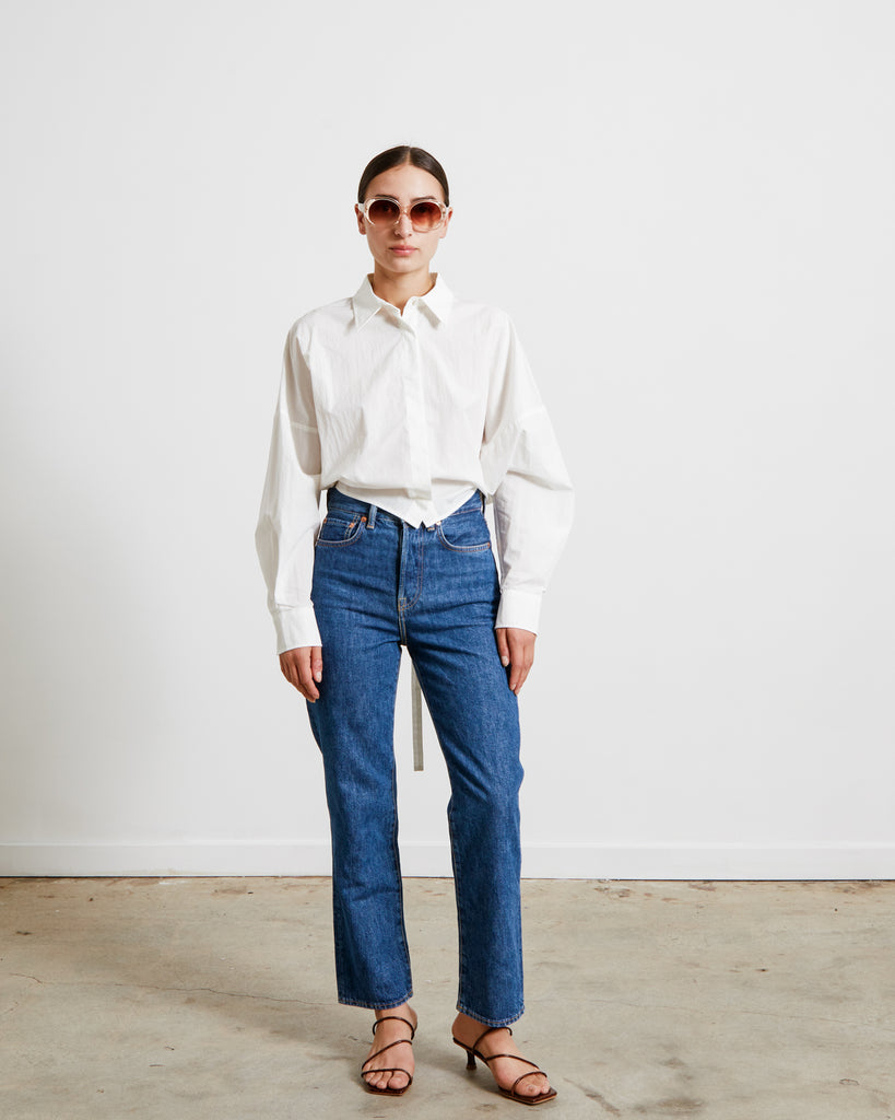 Bow Backed Cropped Shirt in White