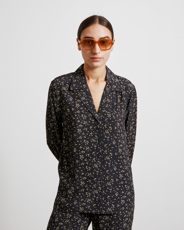 Printed Crepe Shirt in Black
