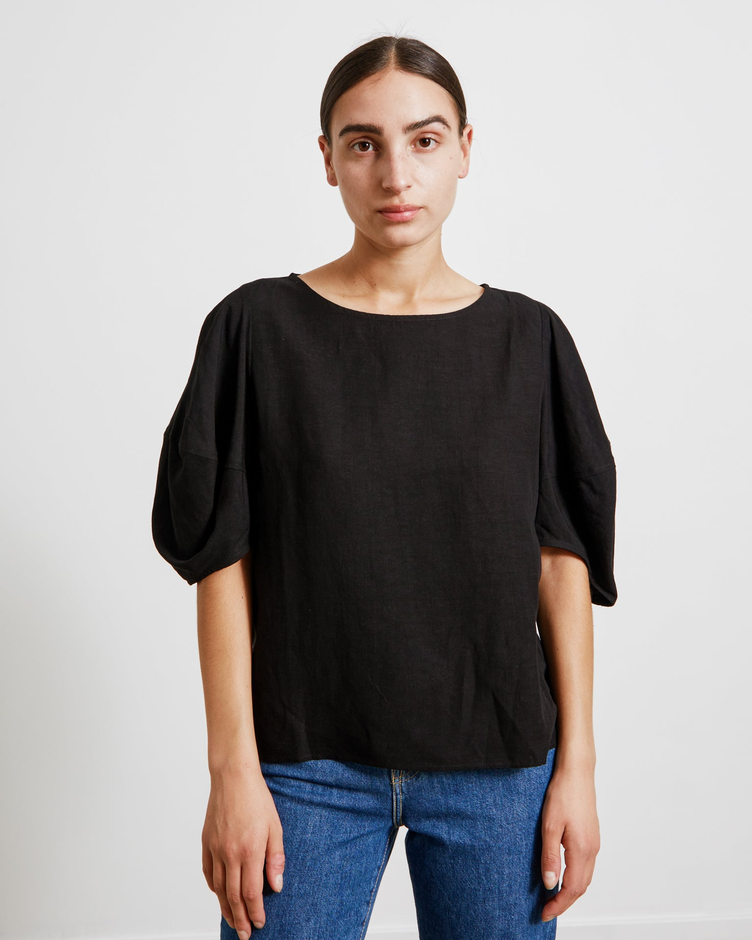 Balloon Sleeve Top in Black