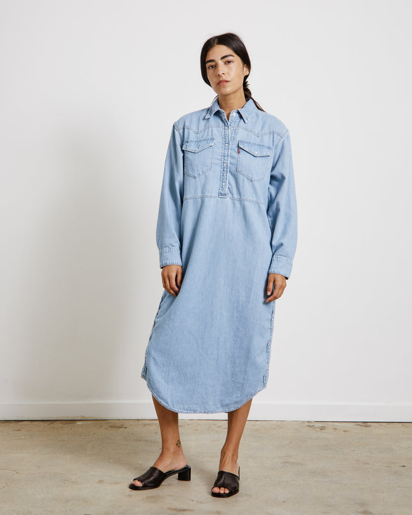 Shirt Dress in Light Indigo Denim