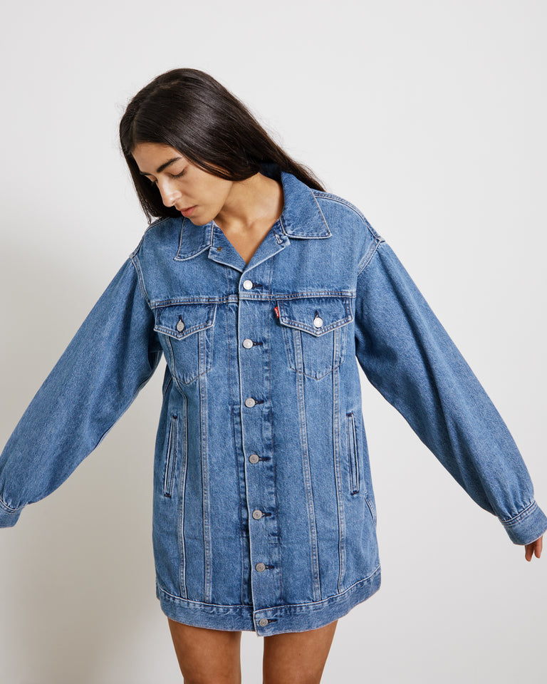 Oversized Dress in Medium Indigo Denim