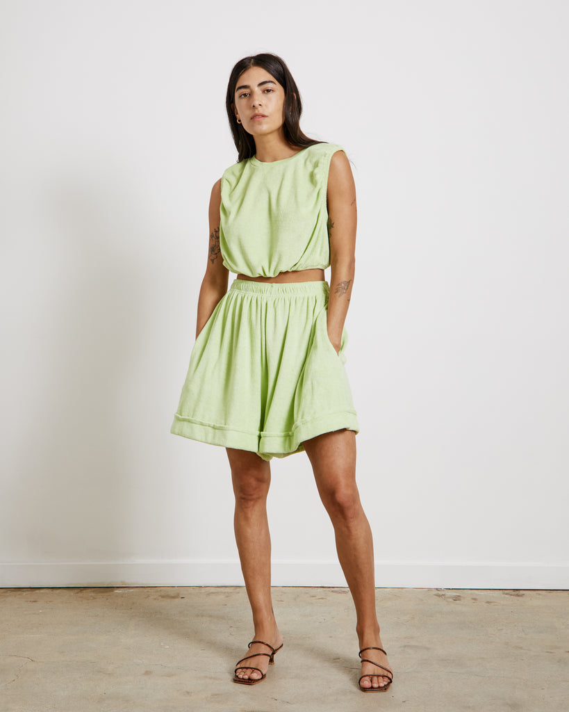 Oversized Sporty Shorts in Starfruit Lime