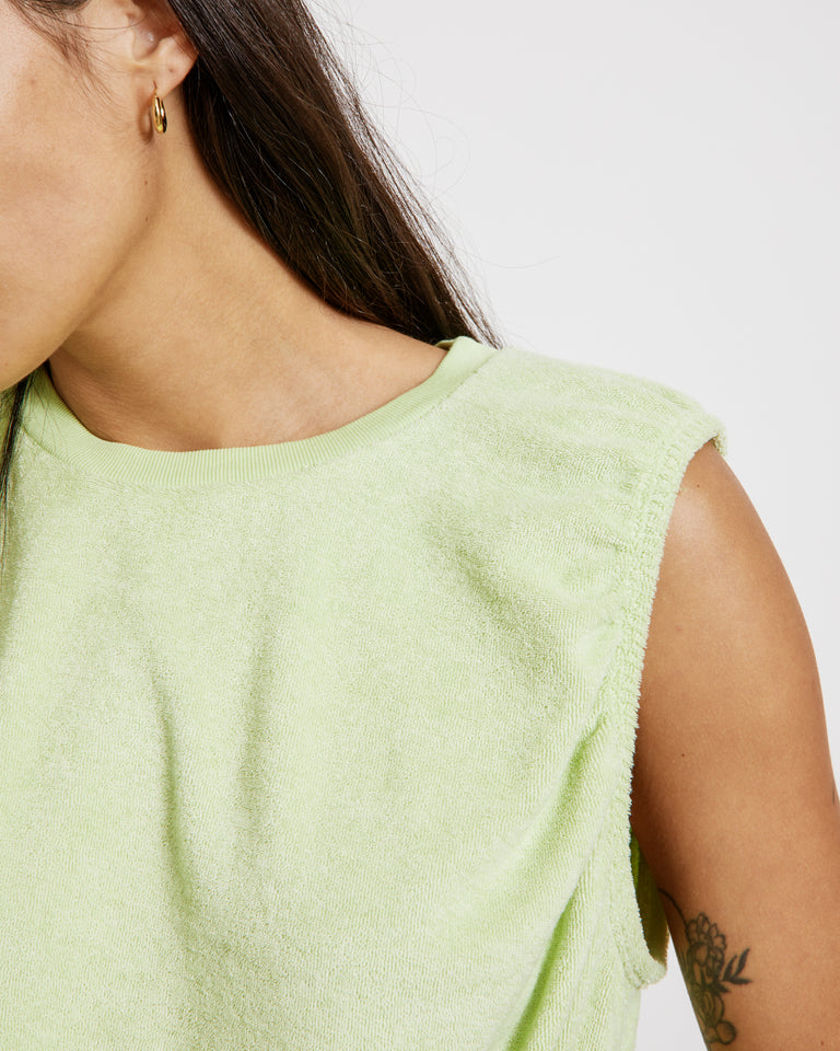 Ruched Cropped Tank in Starfruit Lime