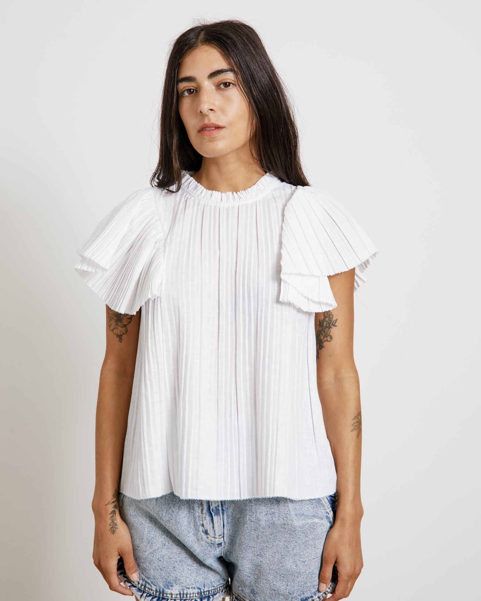 Bailey Broomstick Blouse in White