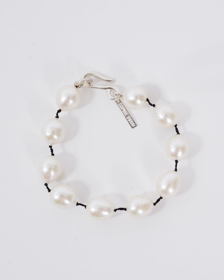 Pearl Teardrop Bracelet in Sterling Silver