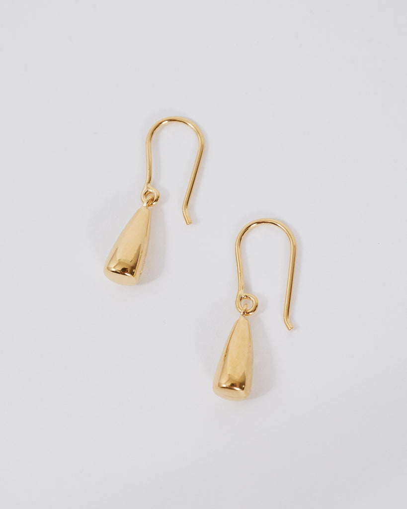 Gold Tiny Dew Drop Earrings in 18K Gold Vermeil