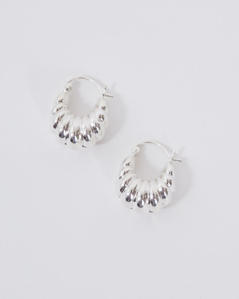 Shell Hoops in Sterling Silver