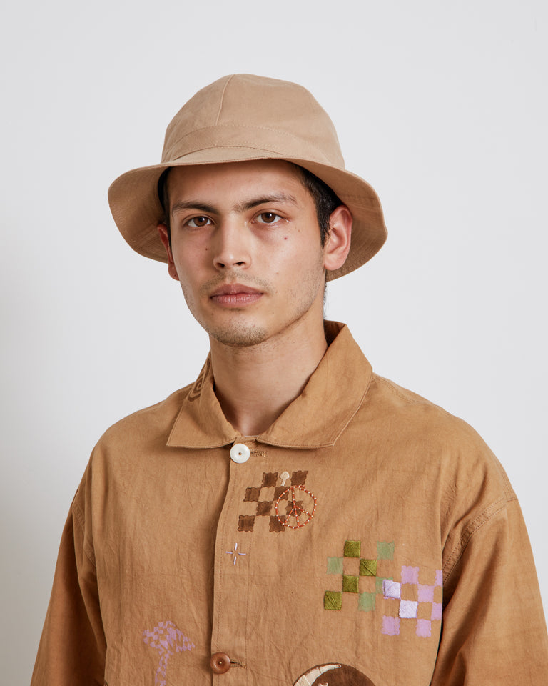 Cotton Linen Metro Hat in Light Brown