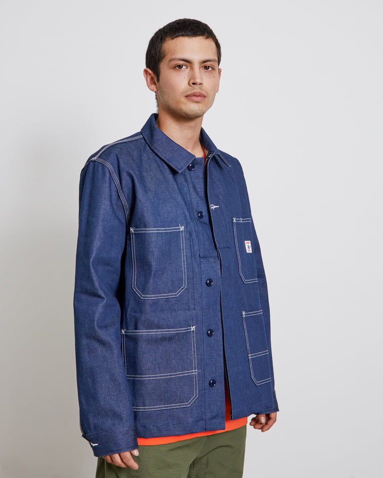 Coverall Jacket in Indigo Raw Denim