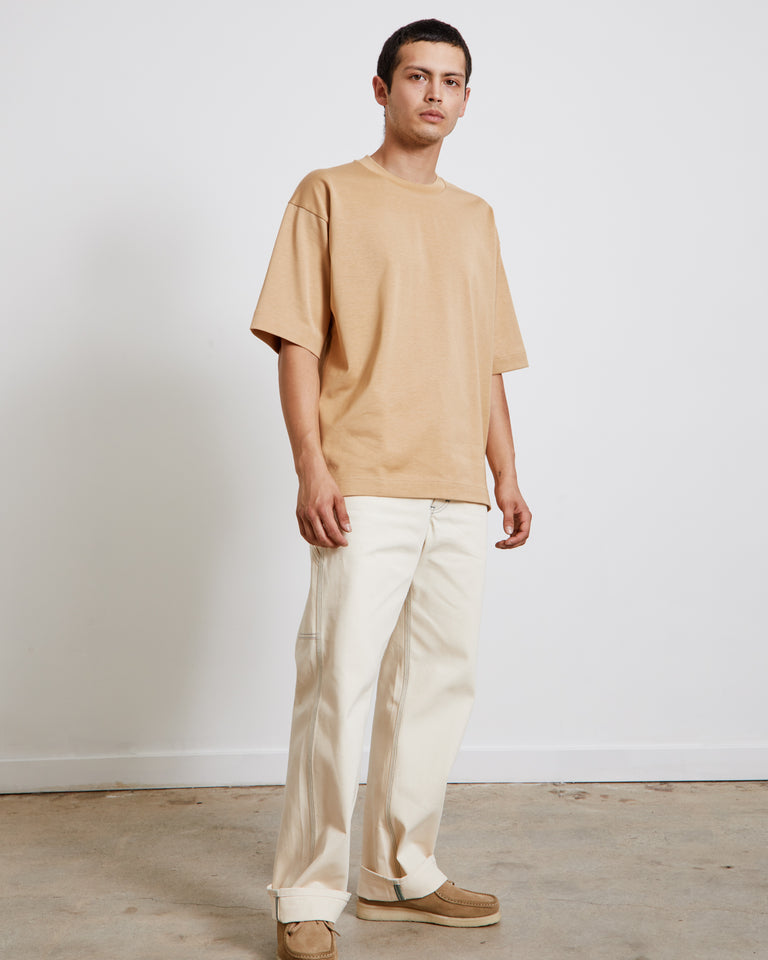 Yoke Seam T-Shirt in Yellow Beige