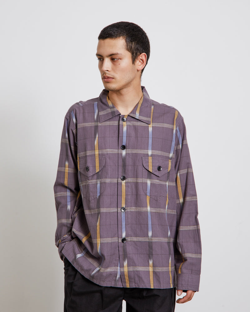 Ikat Windowpane Smokey Shirt in Grey