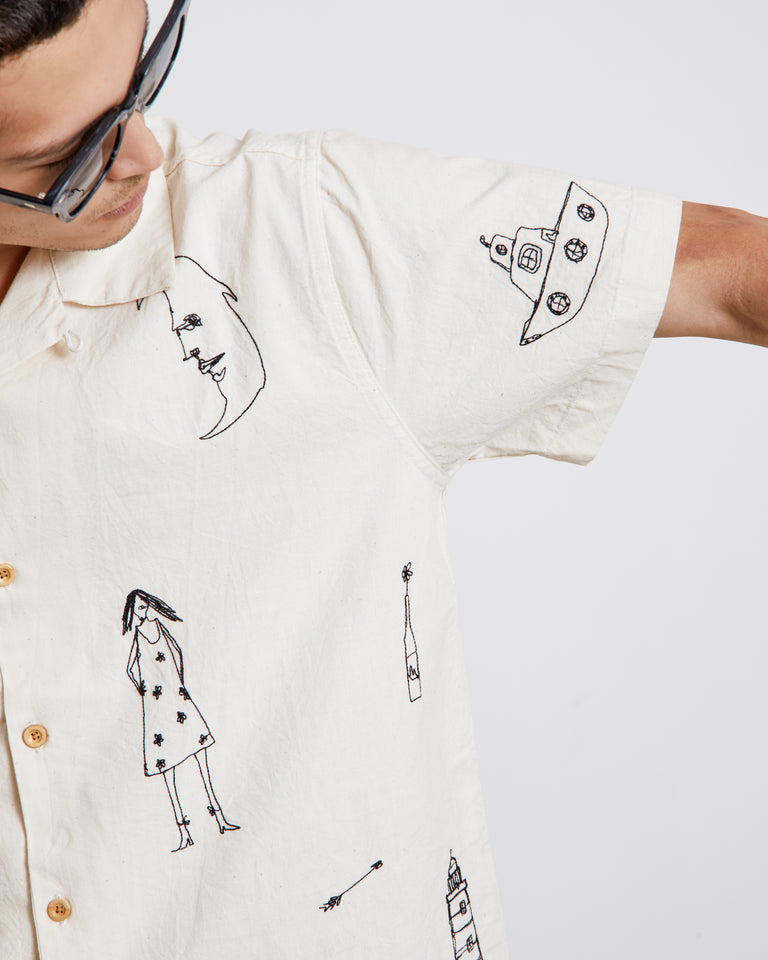 Embroidered Camp Shirt in White/Black