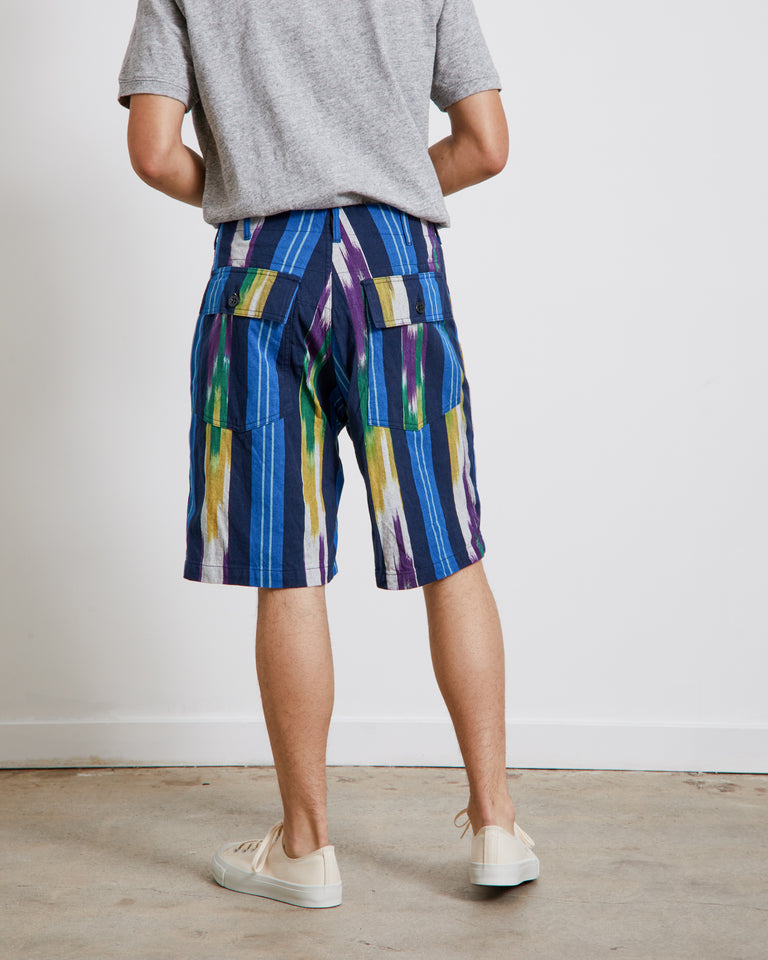 Printed Fatigue Shorts in Blue/Green/Yellow