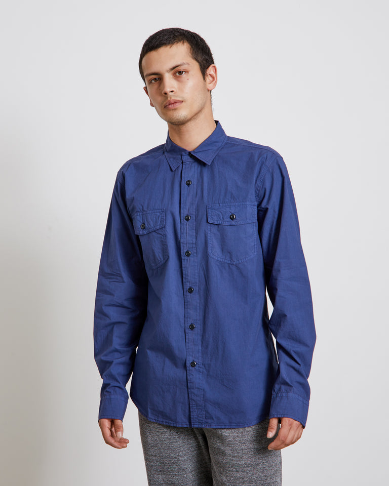 Poplin Pocket Shirt in Navy