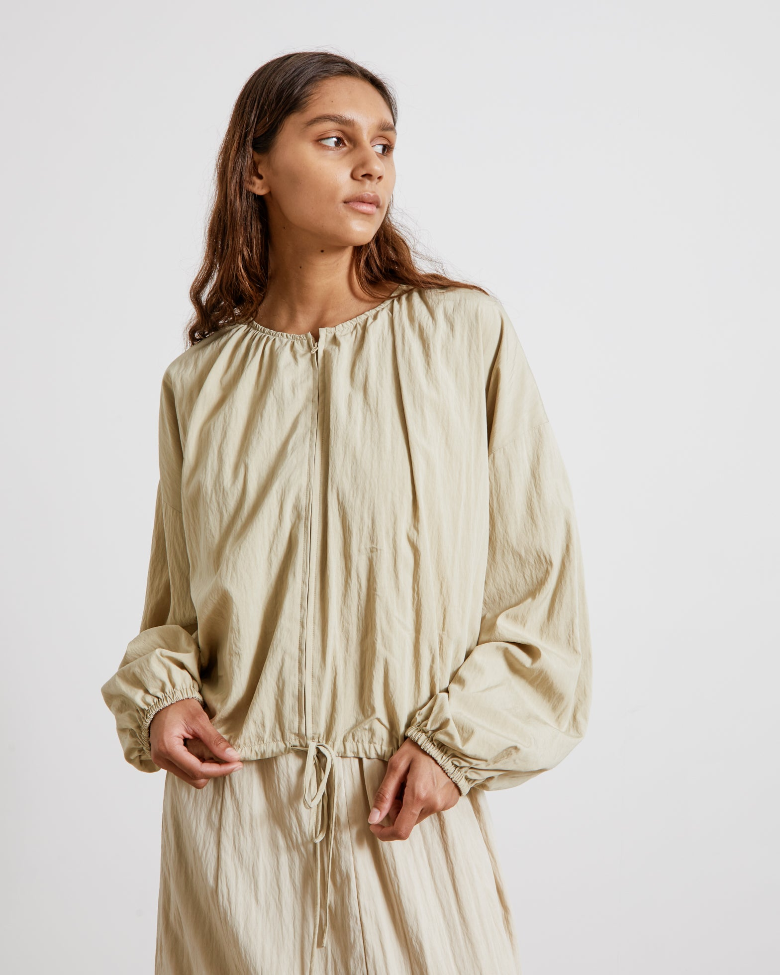 Double Zip-Up Blouse in Olive