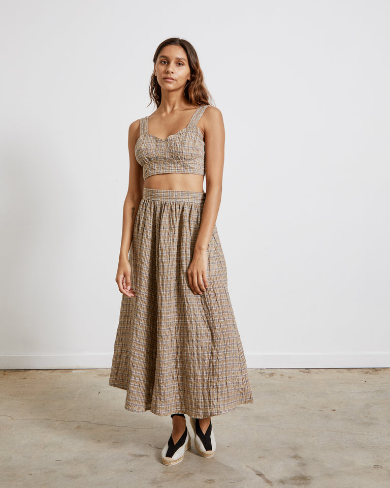 Rita Skirt in Brown Gauze Plaid