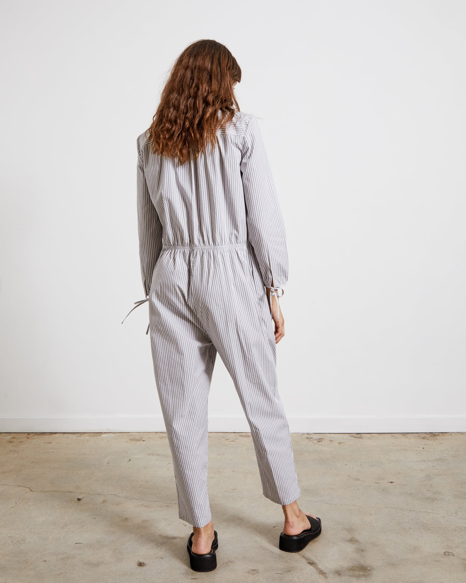 Admiralty Jumpsuit in Grey Nautical Stripe