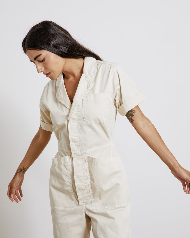Short Sleeve Jumpsuit in Oat Milk