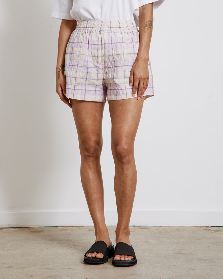 Seersucker Check Shorts in Orchid Bloom