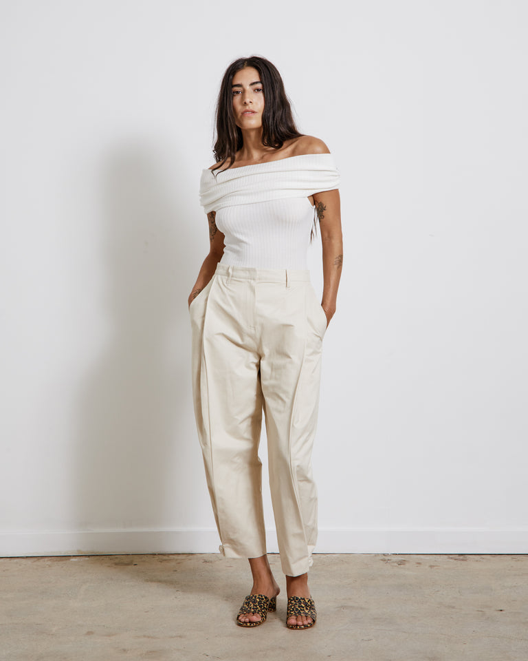 Button Garconne Pants in Cream