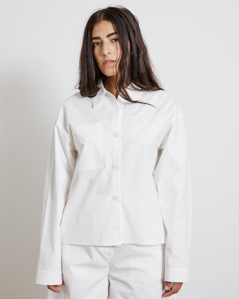Reverse Pocket Shirt in White