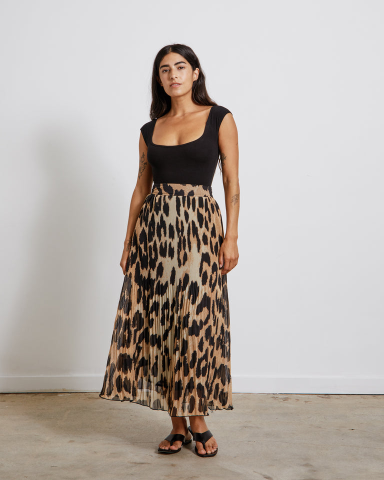 Pleated Georgette Skirt in Maxi Leopard