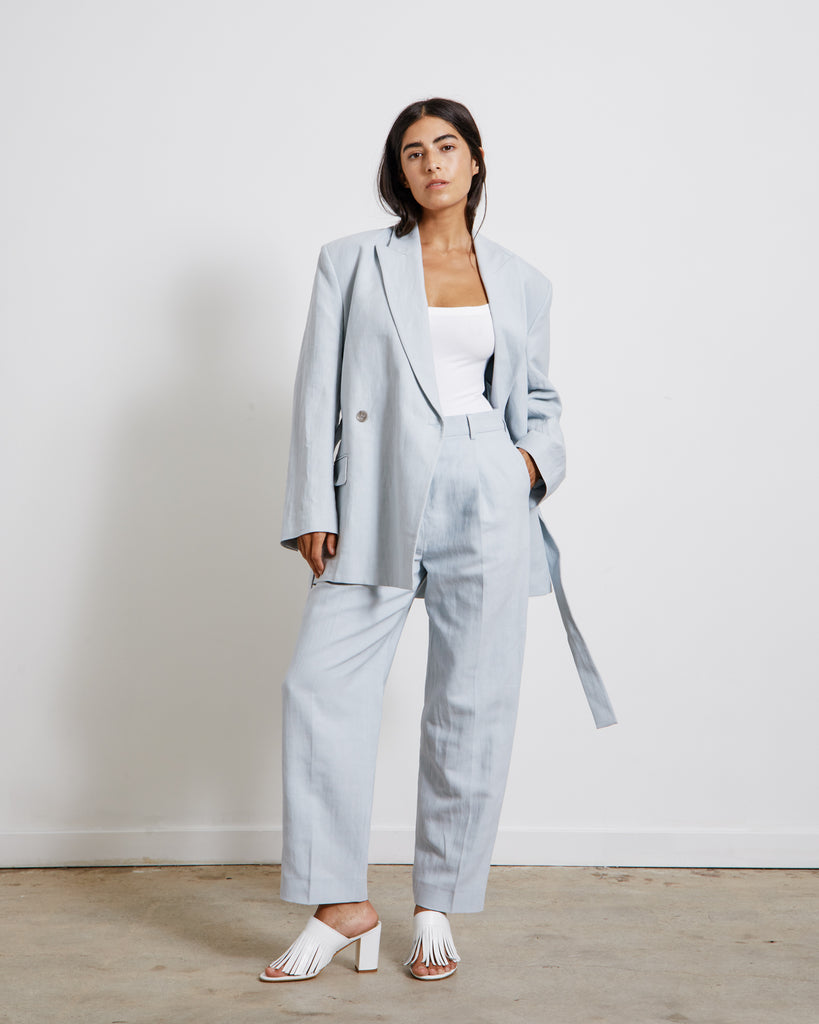 Belted Suit Jacket in Ice Blue