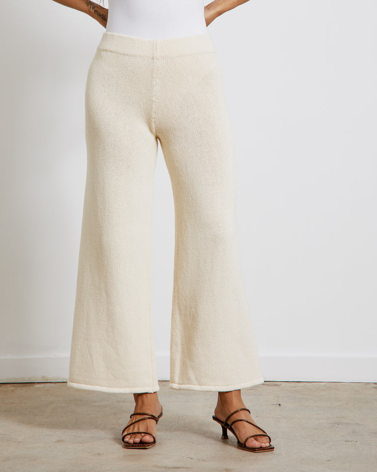 Rem Knit Lounge Pants in Ecru