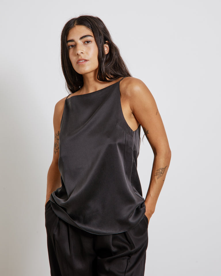 Jules Silk Singlet in Black