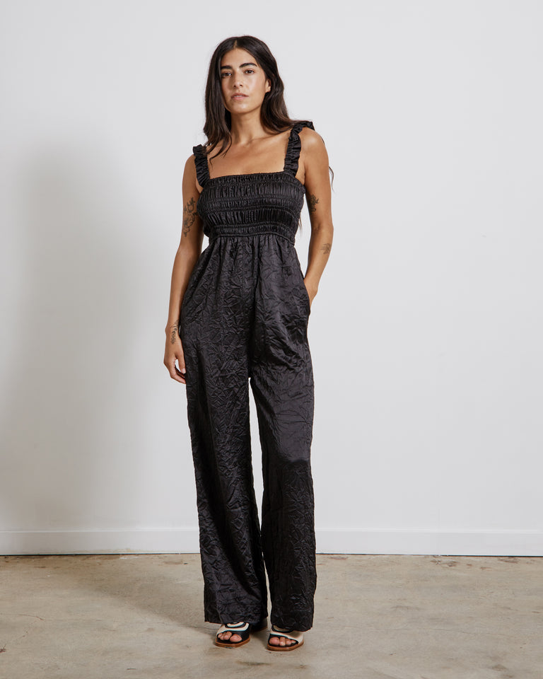 Crinkled Satin Jumpsuit in Black