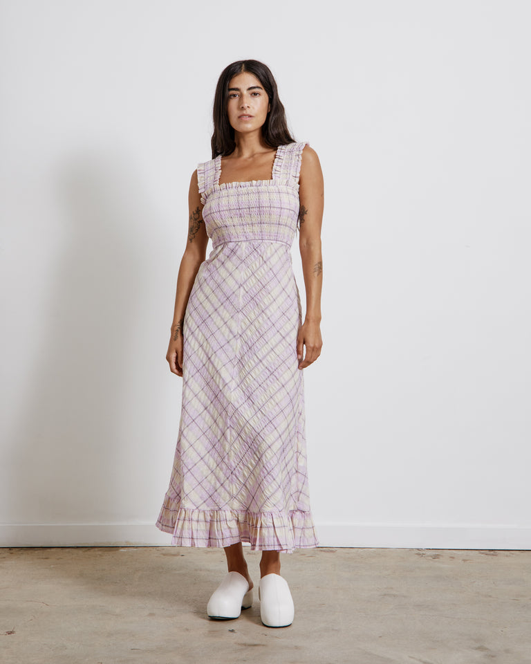 Seersucker Maxi Dress in Orchid Bloom