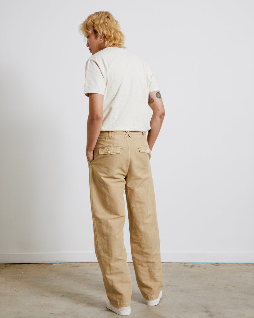 Double Pleat Trouser in Khaki