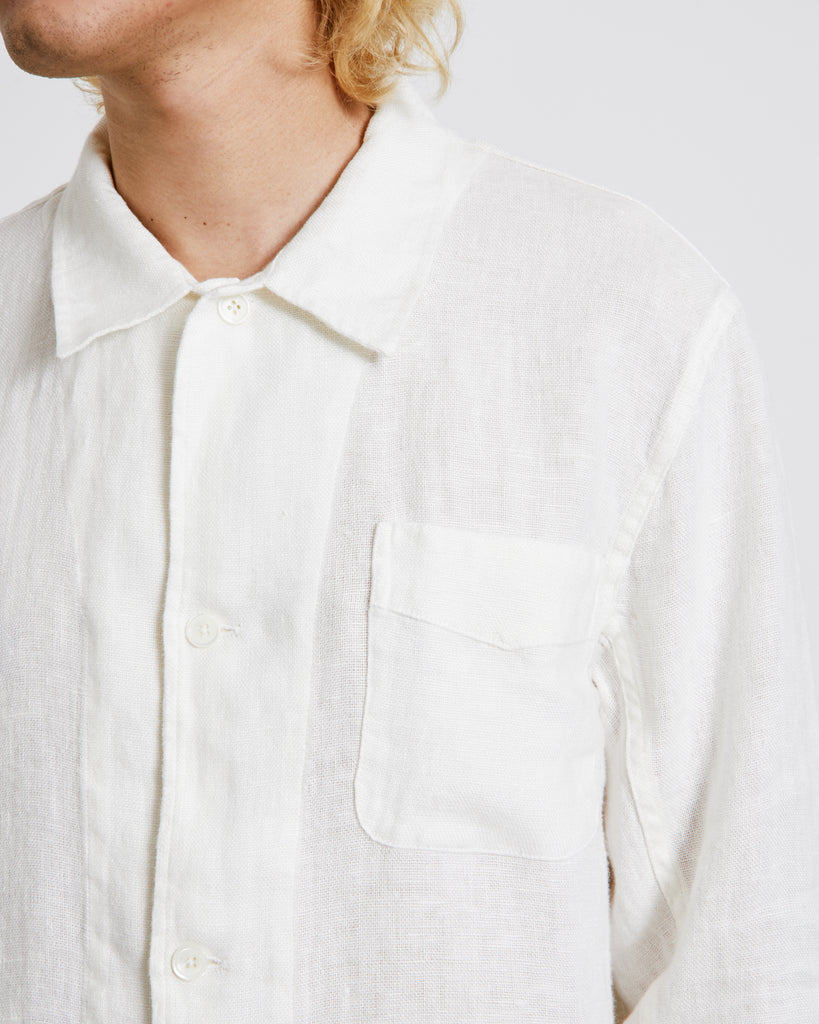 Box Shirt in White Rough Sack