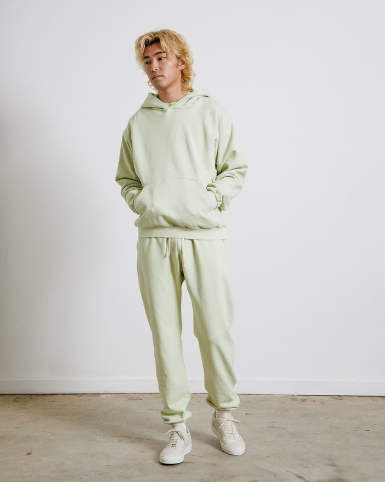 Hooded Pullover in Faded Lime