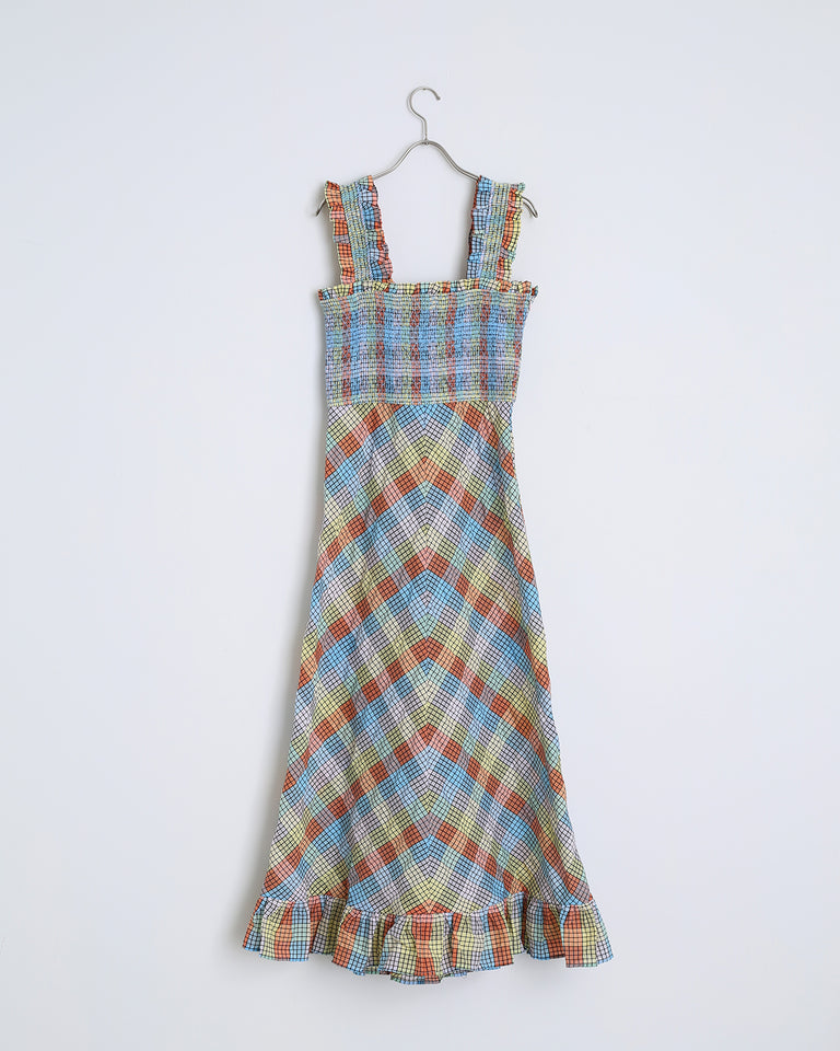 Seersucker Check Dress in Multicolor