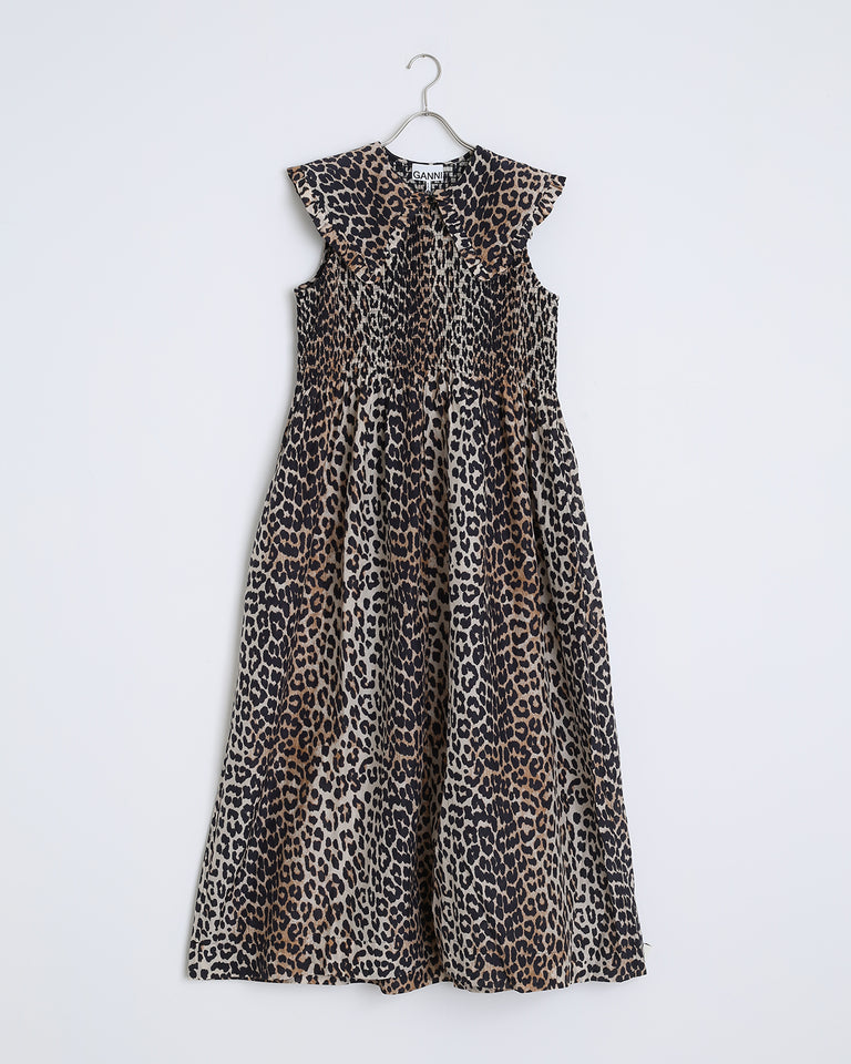 Cotton Silk Dress in Leopard