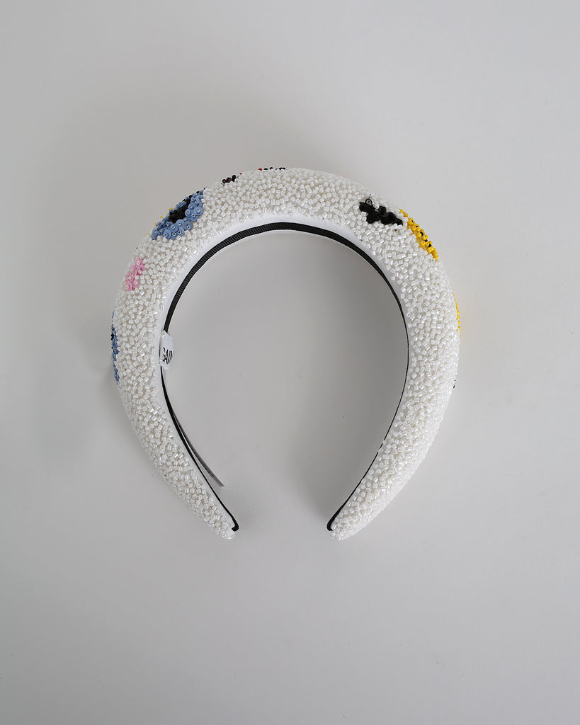 Padded Beaded Hairband in Egret