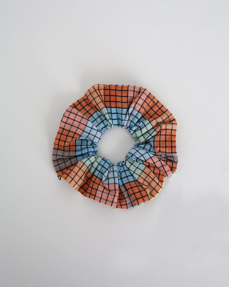 Seersucker Check Scrunchie in Multicolor