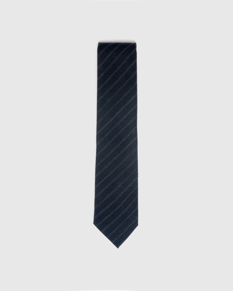 Beaded Stripe Tie in Navy