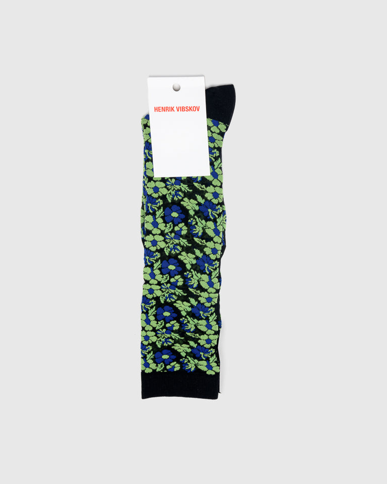 Flower Knee Socks in Green Flower