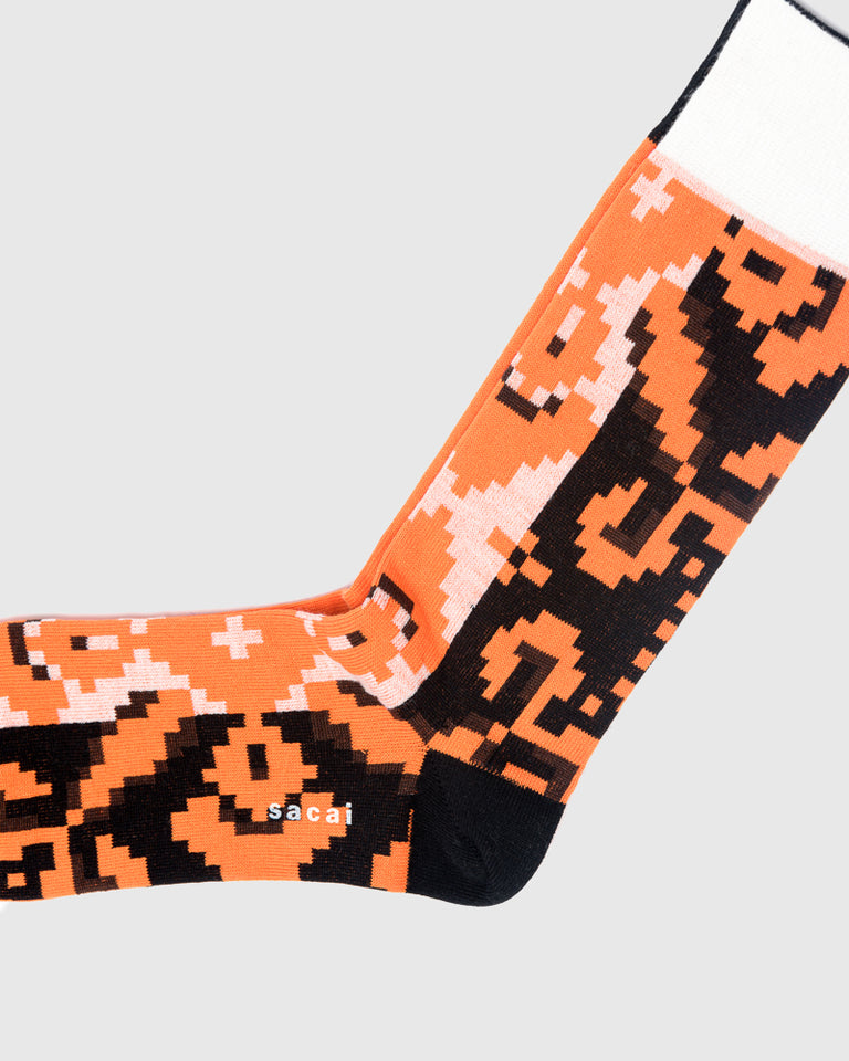 Flora Stripe Socks in Black Orange