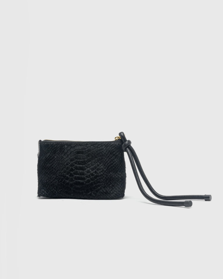 Croc-Effect Pouch in Black