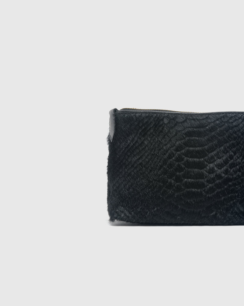 Croc-Effect Pouch in Black by Dries Van Noten Woman at Mohawk General Store